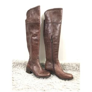 BALDWIN brown leather over knee high boots 5.5